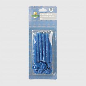 Candeline Auguri azzurre - 12 pz