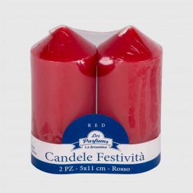 Candele Festività Rosse Alte - 2 pz - altezza 11 cm