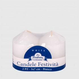 Candele Festività Bianche Basse - 2 pz - altezza 7 cm