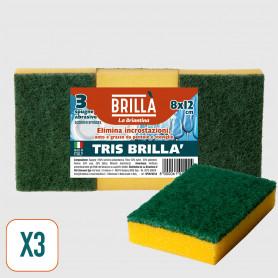 Spugne Abrasive Tris Brillà 8x12 cm - 3 pz