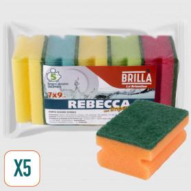 Spugne Abrasive Impugnatura Rebecca - 5 pz
