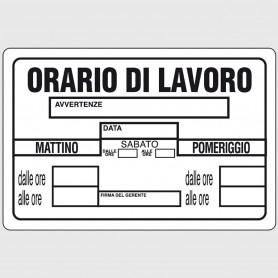 Cartello segnaletico in plastica - Orario di lavoro
