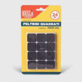 Feltrini quadrati di gomma - 24 pz 25x25 mm