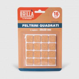 Feltrini quadrati di sughero - 16 pz 20x20 mm