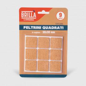 Feltrini quadrati di sughero - 9 pz 30x30 mm